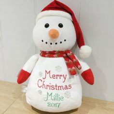 Personalised Christmas Snowman Cubbie Teddy